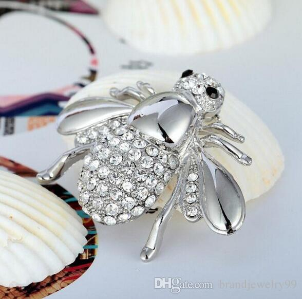 Lovely Insect Bee Brooches Corsage Clear Crystal Rhinestone Lapel Pins Gold Silver Scarf Suit Dress Accessories Party Jewelry Gifts