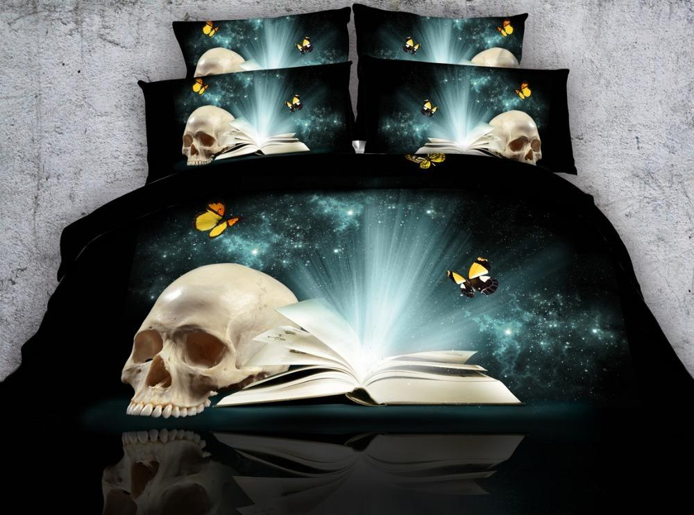 Jf 437 Skull Butterfly And Shining Book Printed Bedding Sets Queen Size Bed  Sheets Set Comforters And Duvet Covers Comforters Cheap From Crystalstory,  ...
