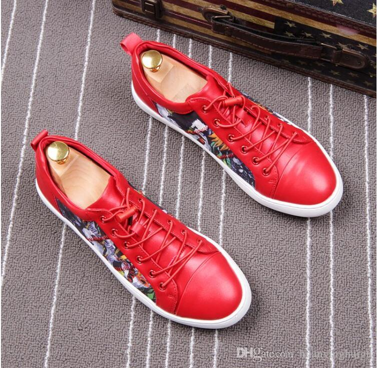 NEW arrival Men Shoes Lace-up Shoes white red embroidery Leather Real Leather Mens Moccasins Italian Design Loafers Shoes BMM10