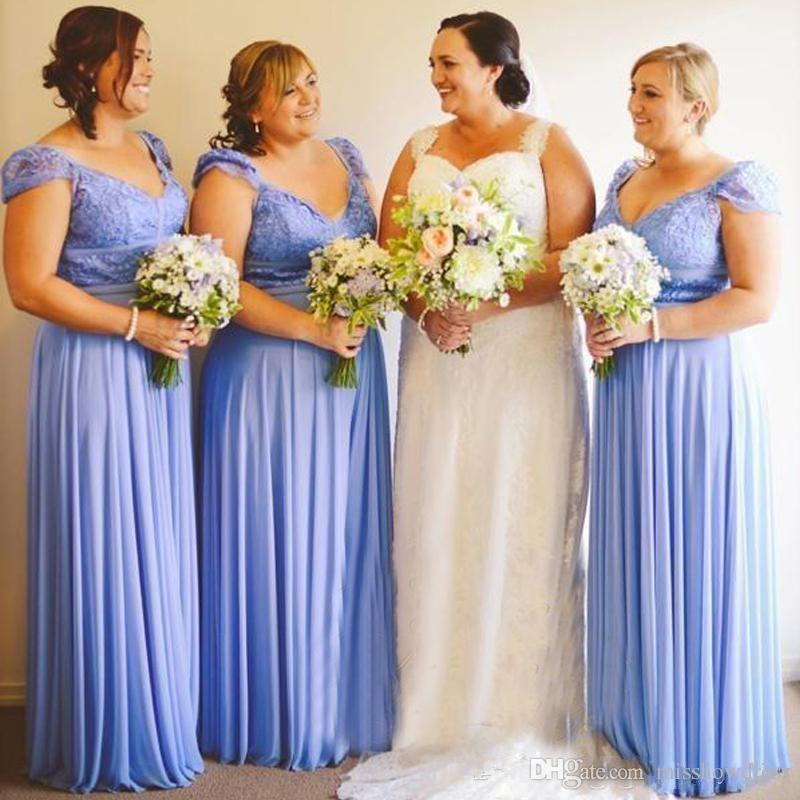 2018 Blue V-Neck Chiffon A-Line Country Bridesmaid Dresses Lace Cap Sleeves Ruffle Draped Plus Size Junior Maid Of Honor Evening Prom Gowns