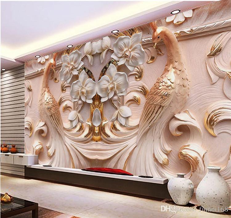 사용자 정의 벽지 3D 대형 공작 릴리프 배경 벽 나비 꽃 배경 벽 3 d 용 살인 벽지