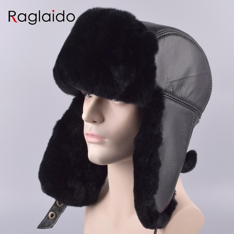 e55e5d32079 2019 Raglaido Men S Hat With Ear Flaps Ushanka Bomber Hats Winter A Cap Snow  Russian Hat Made Of Fur Thick Warm Adjustable LQ11199 R From Raglaido