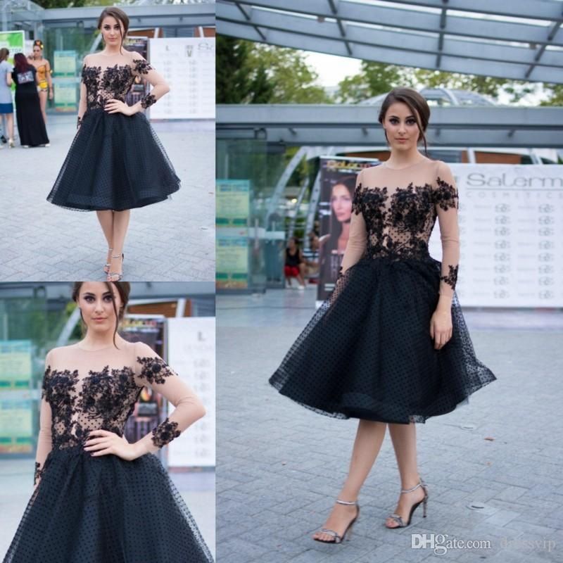 b53d76cdc7 2018 Black Cocktail Dresses Lace Tulle Applique Illusion Long Sleeve Formal Dress  Party Wear Knee Length Jewel Neck Sexy Evening Gowns Plus Size Cocktail ...