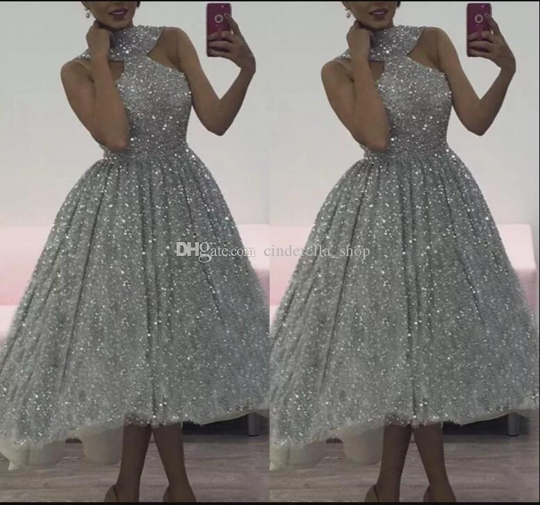 21d9599b0ffd4 Sparkly Silver High Low Prom Dresses 2018 Sleeveless Tea Length Short Party  Evening Gowns Cocktail Wear Plus Size Cheap Design Your Own Prom Dress  Online ...