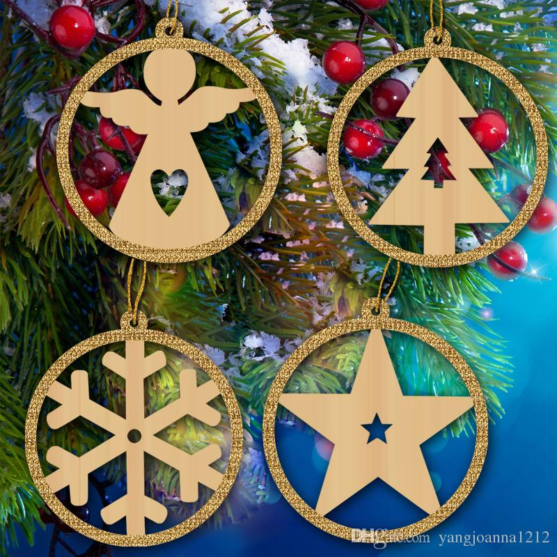 wooden outdoor christmas decoration christmas tree decoration ornaments pendant pentagram angel snowflake christmas tree with gold glitter christmas