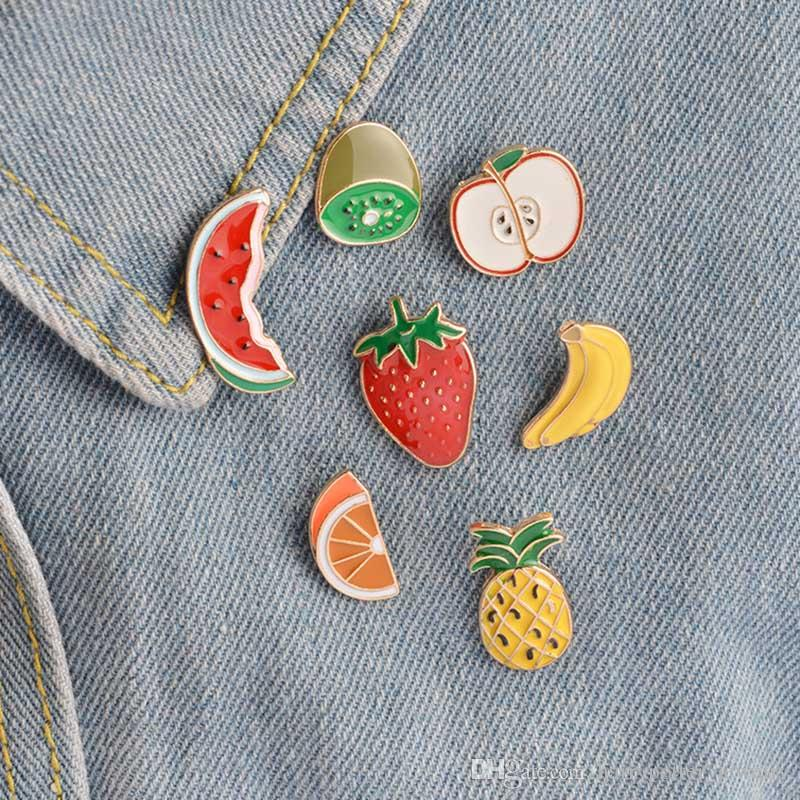 cute fruit Banana Strawberry brooch Watermelon Kiwi Apple Orange Pineapple Brooches Button Pin Denim Jacket Pin Badge drop shipping