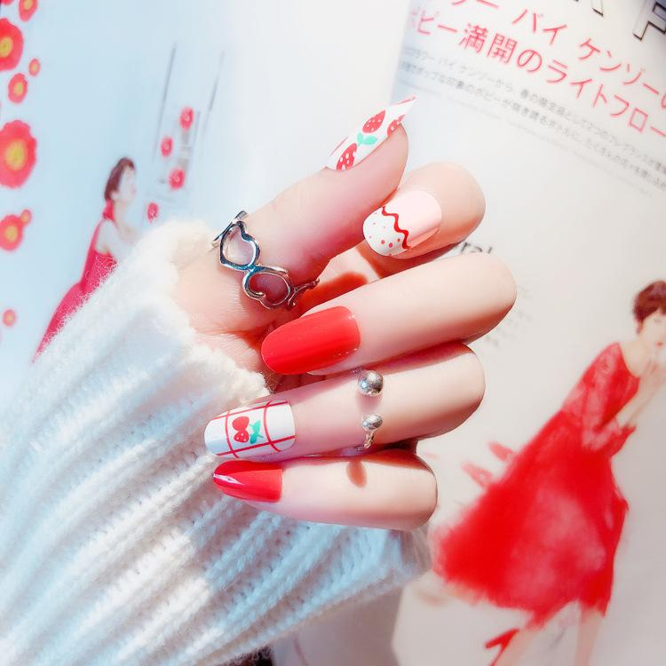 Hot Selling Full Cover False Nails Tips With Glue Sticker Red Cute