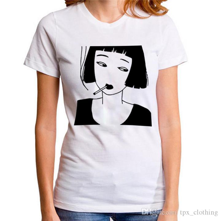 Smoke girl t shirt Cool words casual time short sleeve gown Street leisure  tees Unisex clothing Pure color cotton Tshirt