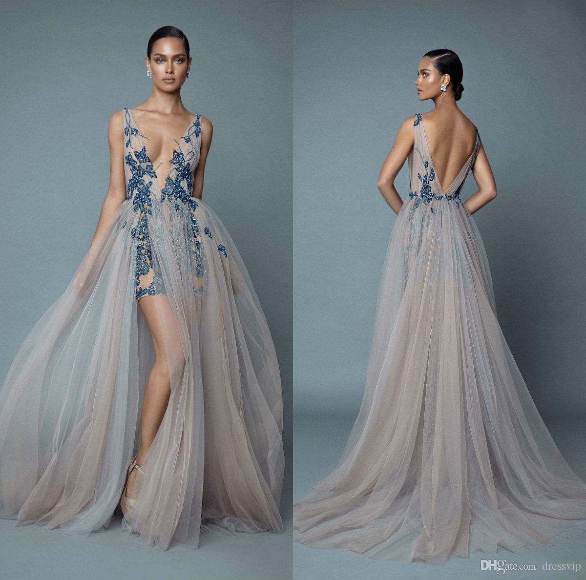 c6845e3b312a 2019 Berta Evening Dresses Deep V Neck Illusion Side Split Appliqued Lace  Beads Sexy Prom Dress Party Wear Custom Made Formal Occasion Gowns Fall  Evening ...