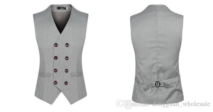 Men's Clothing British Style Slim Fit Cotton Double Breasted Sleeveless Jacket Waistcoat Men Suit Vest Black Gray Business Gilet