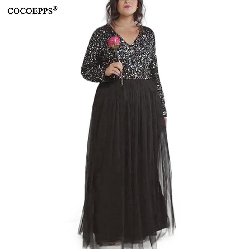Wholesale-COCOEPPS 2017 5XL 6XL Sequin Gauze Maxi Dresses Plus Size Winter Long  Dress Sexy Evening Party Dress Big Sizes Elegant Vestidos Hair Clips   Pins  ... a8962ba0375b