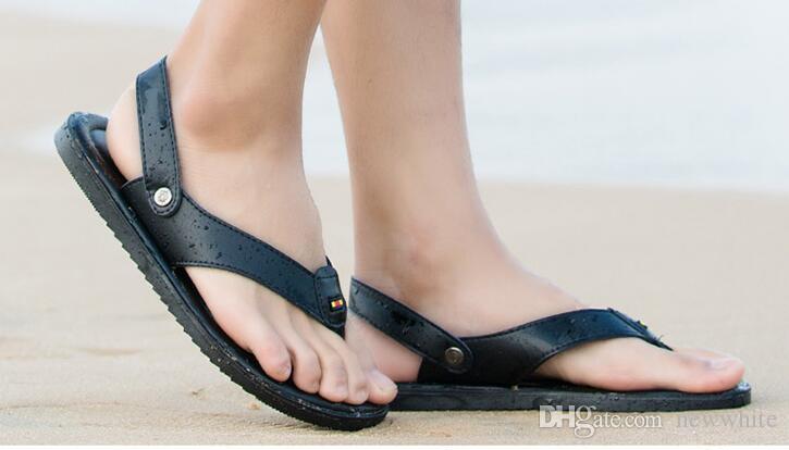 5be6ffcd2cb25 Flip Flops Men Sandals Summer Slippers Shoes For Casual Walking Seaside  Beach Breathable Slides Men S Brand Designer Flats 2018 G165 Wedding  Sandals Walking ...