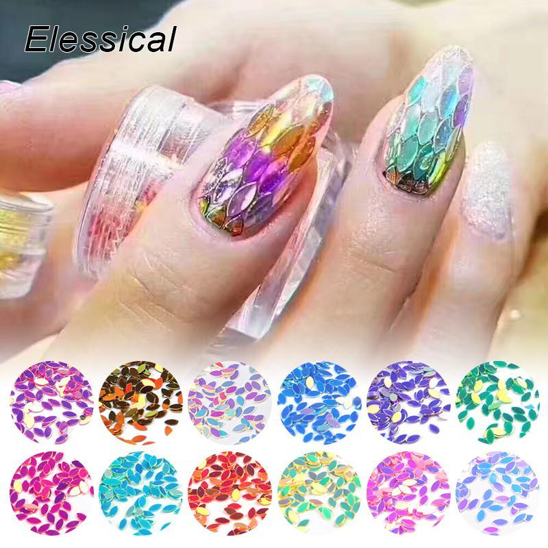 Elessical 10g/Bag 5bagsHolographic Leaves Design Nail Art Glitter ...