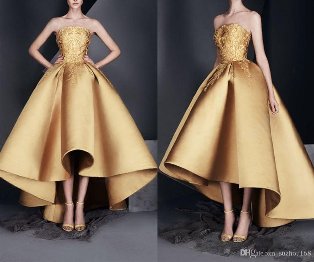 578138ea52 Golden Tube Top Off Shoulders Evening Dresses Lace Sleeveless Satin  Backless Formal Prom Dress Short Before Adult Party Gown Womens Clothing Uk  Womens Dress ...