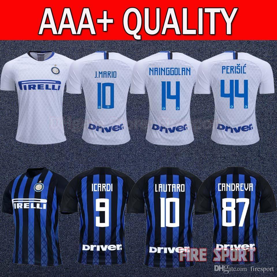 c0ef878b2 2019 2019 Inter Home Away Soccer Jersey 18 19 Inter Soccer Shirt 2018  NAINGGOLAN SKRINIAR PERISIC  9 ICARDI  10 LAUTARO Football Uniform Sales  From ...