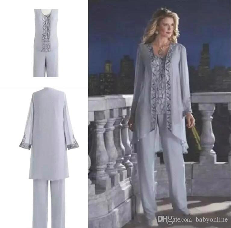 75fdad61bc2 Gray Cheap 2018 Mother Of The Bride Three Piece Pant Suit Lace Chiffon  Wedding Mother S Groom Dress Long Sleeve Wedding Guest Dress BA6571 Joan  Rivers On ...
