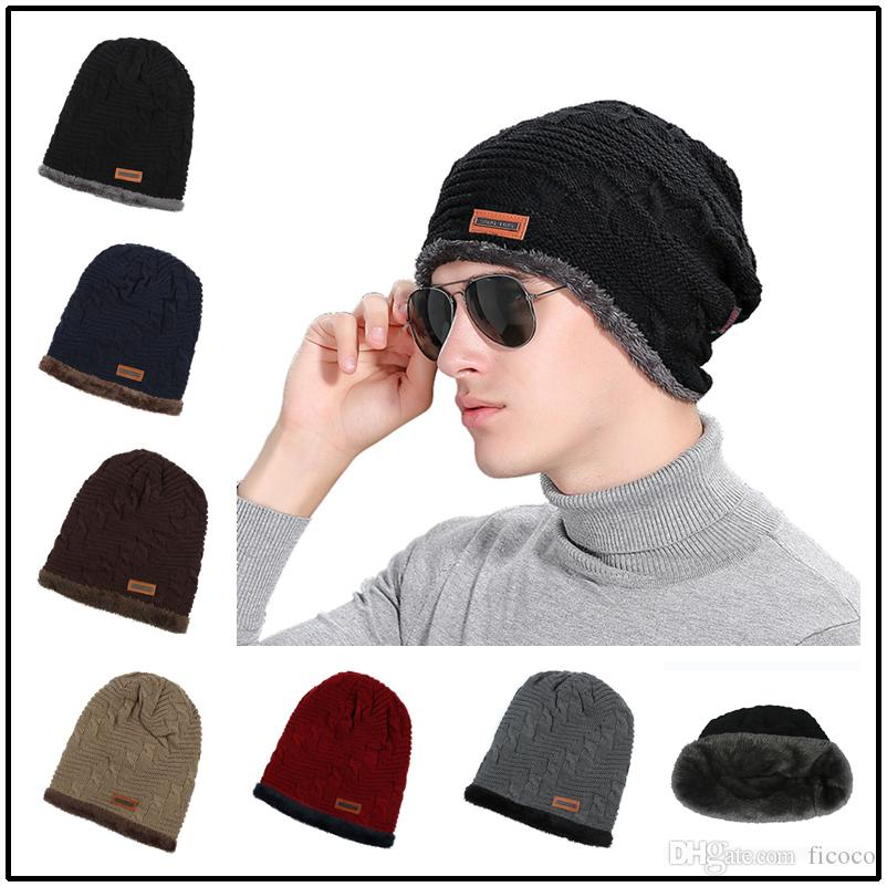 Bulk Men Icon Hats Thicken Knitted Beanies Brand Fitted Hat Luxury ... c53e7417048