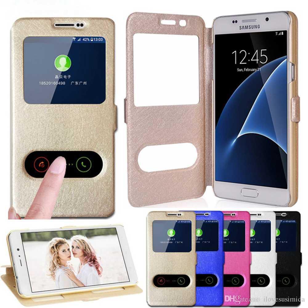 a448a43eaaf Accesorios Celular Funda Con Tapa Para Samsung Galaxy J3 J320f J3109 Vista  De La Ventana Cubierta De Cuero Con Tapa Iphone 6 7 8 Más Samsung Samsung  S8 ...
