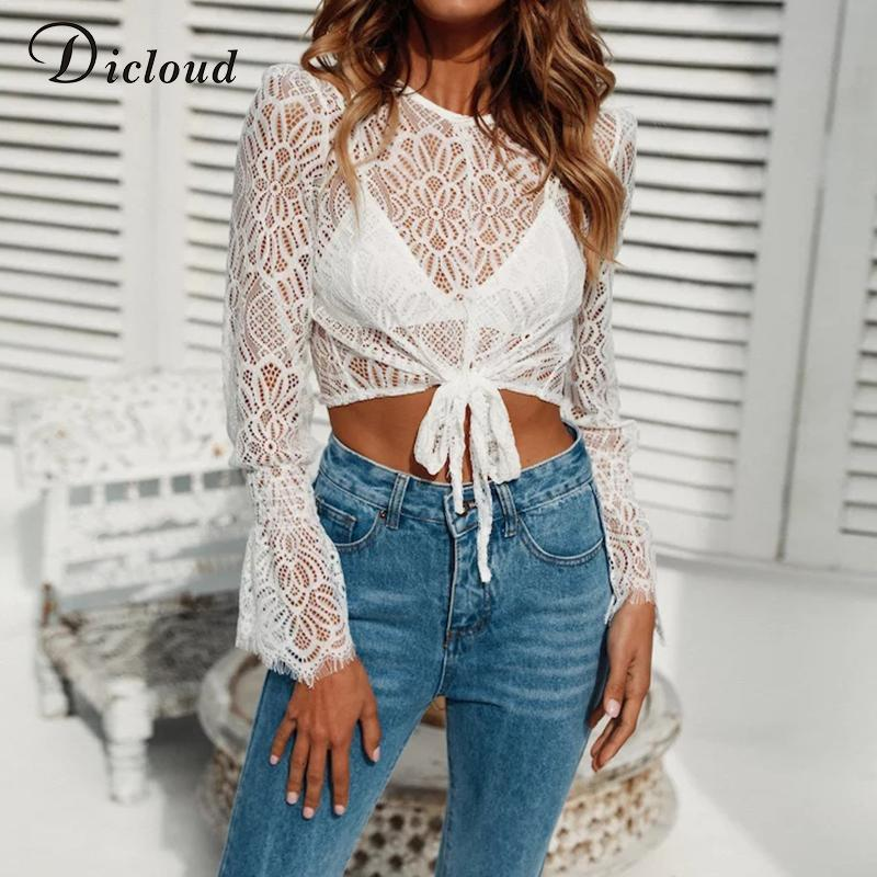 0fbae17dcd1a DICLOUD 2018 Summer Hollow Out Sexy White Lace Boho Short Shirt Casual  Tunic Crop Top Korean Style Sunscreen Short Overall Tee Shirt Funny Tee  Shirt ...