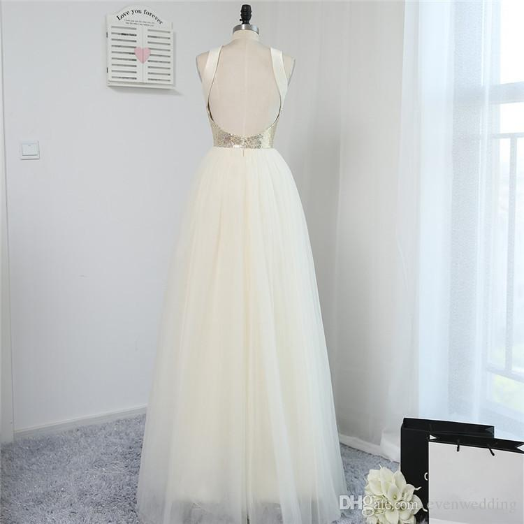 Sequins Tulle A Line Evening Dresses Backless Long Prom Dresses New Floor Length Party Dresses Fast Shipping