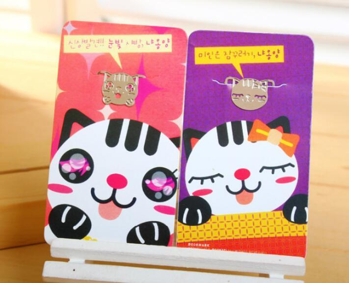 Wholesale-Cute Mini Kawaii Metal Bookmark Lovely Cartoon Cat Paper Clips  For Books Kids Gift Korean Stationery Free Shipping 748