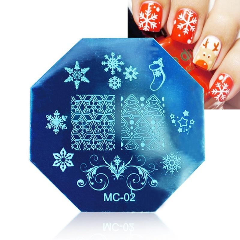 5.8cm Octagon Nail Art Stamp Stamping Plates Template Christmas Printed Plate Pattern Lace Image Manicure Plate