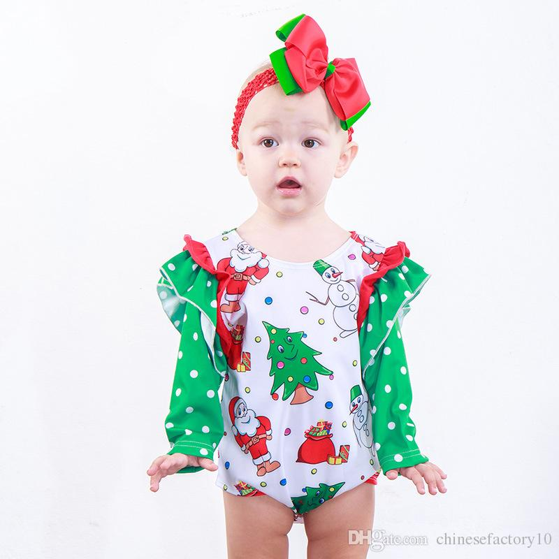 fd367046c 2019 Xmas Baby Girls Ruffle Long Sleeve Romper Infant Santa Claus Christmas  Snowman Tree Print Jumpsuits Boutique Fashion Kids Climbing Clothes From ...