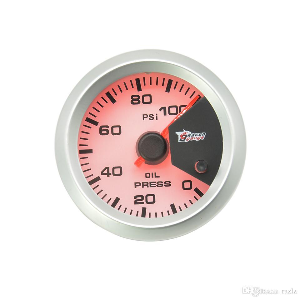 Dragon gauge 52MM blacklight Auto Car Oil Pressure gauge Meter Gauge with Sensor for 0~100 PSI