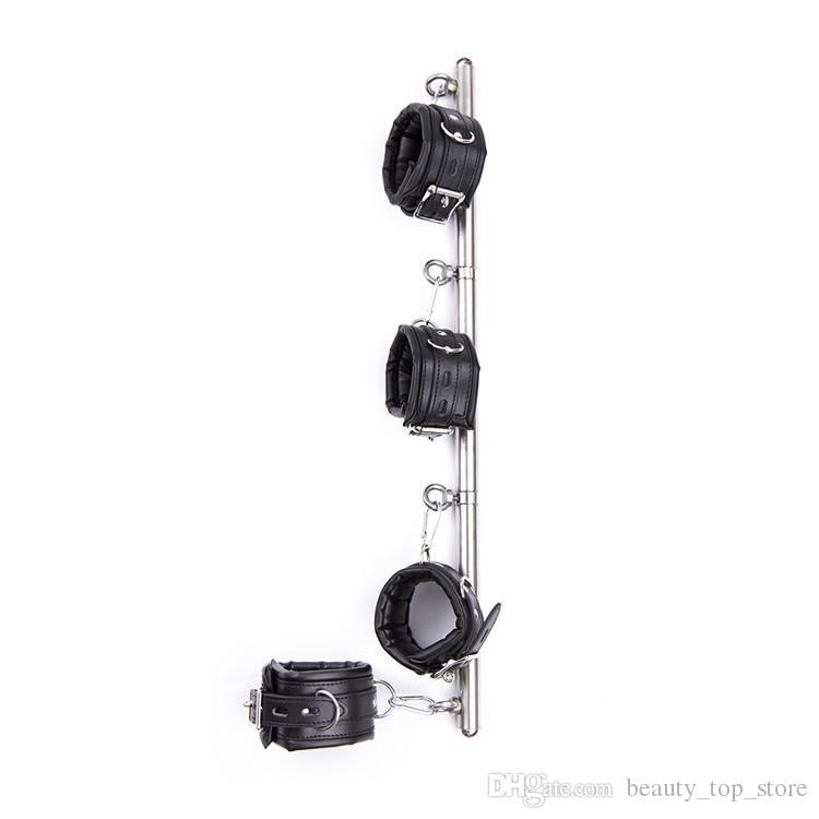 Stainless Steel Adjustable Spreader Bar with Handcuffs Cuffs Restraints with Padlocks Metal Restraint Bondage Gear Sling Bar toy