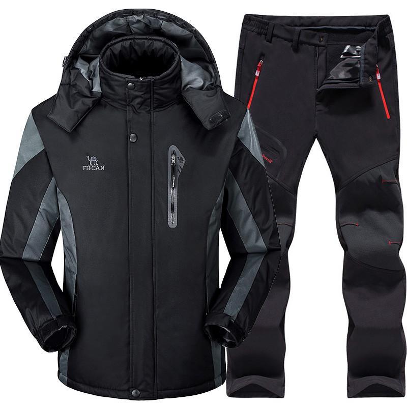 bab725a7c77d34 Ensemble de ski pour hommes Ensembles de ski et de surf des neiges Super  chaud Imperméable Coupe-vent en polaire Coupe-vent pantalon Hiver Costumes  ...