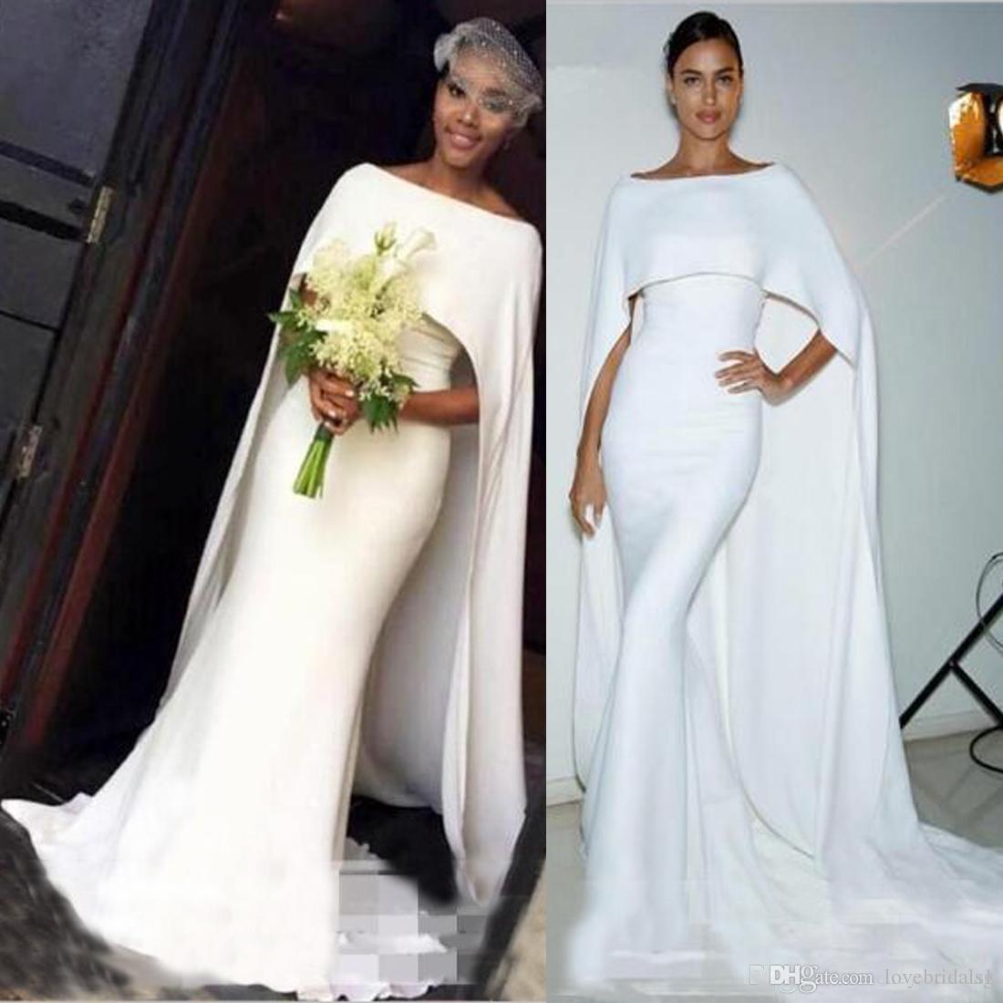 ece4b831ea9 Simple Mermiad Wedding Dresses With Wrap Elegant Cape Style Mermaid Bridal  Gowns South African Wedding Vestidos