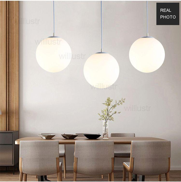 milk white glass ball pendant lamp frosted glass globe suspension light hotel hall restaurant dinning room handmade global hang lighting
