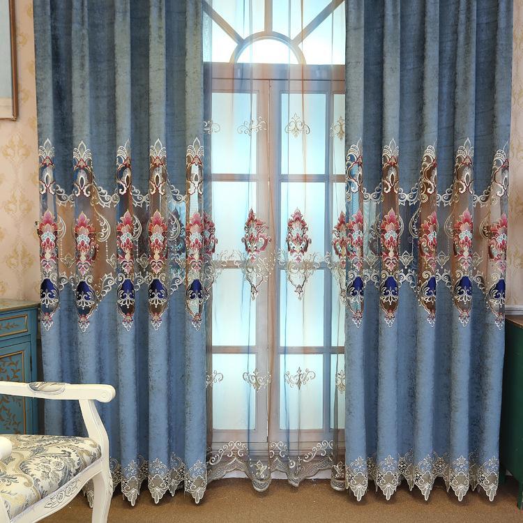 Cortinas de doble cara de terciopelo de chenilla de terciopelo para la sala  de estar comedor Dormitorio ventana de la ventana cortina bordada europea