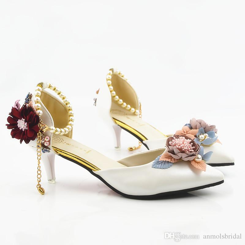 White Pointed Toe Flower Shiny High Heels Lady s Shoes Women Sandals Bridal  Evening Prom Party Club Bridesmaid Shoes with Pearl Straps 030 Pointed Toe  Sexy ... cfe6a495b78f
