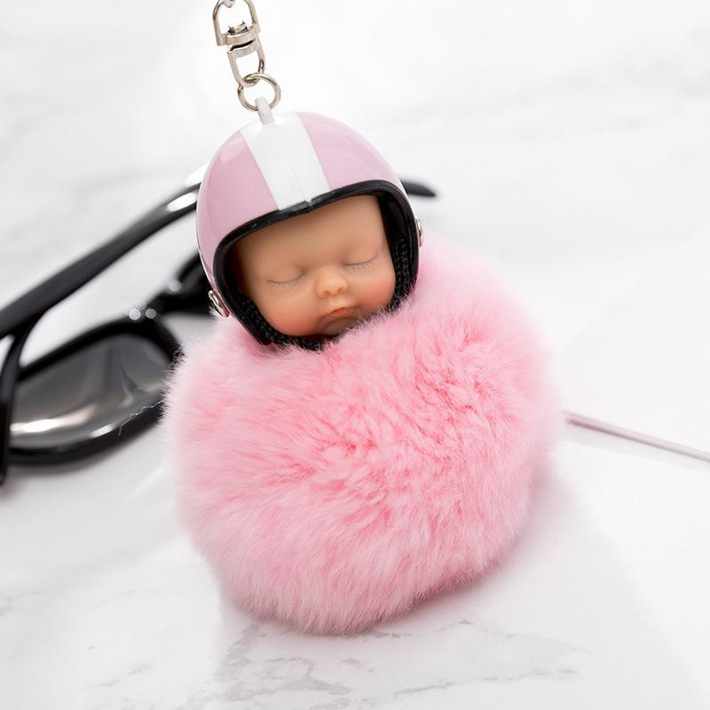 الخيال جديد منفوش الأرنب الفراء pompom دراجة نارية خوذة النوم الطفل مفتاح سلسلة المرأة الفراء دمية المفاتيح سيارة كيرينغ لعبة