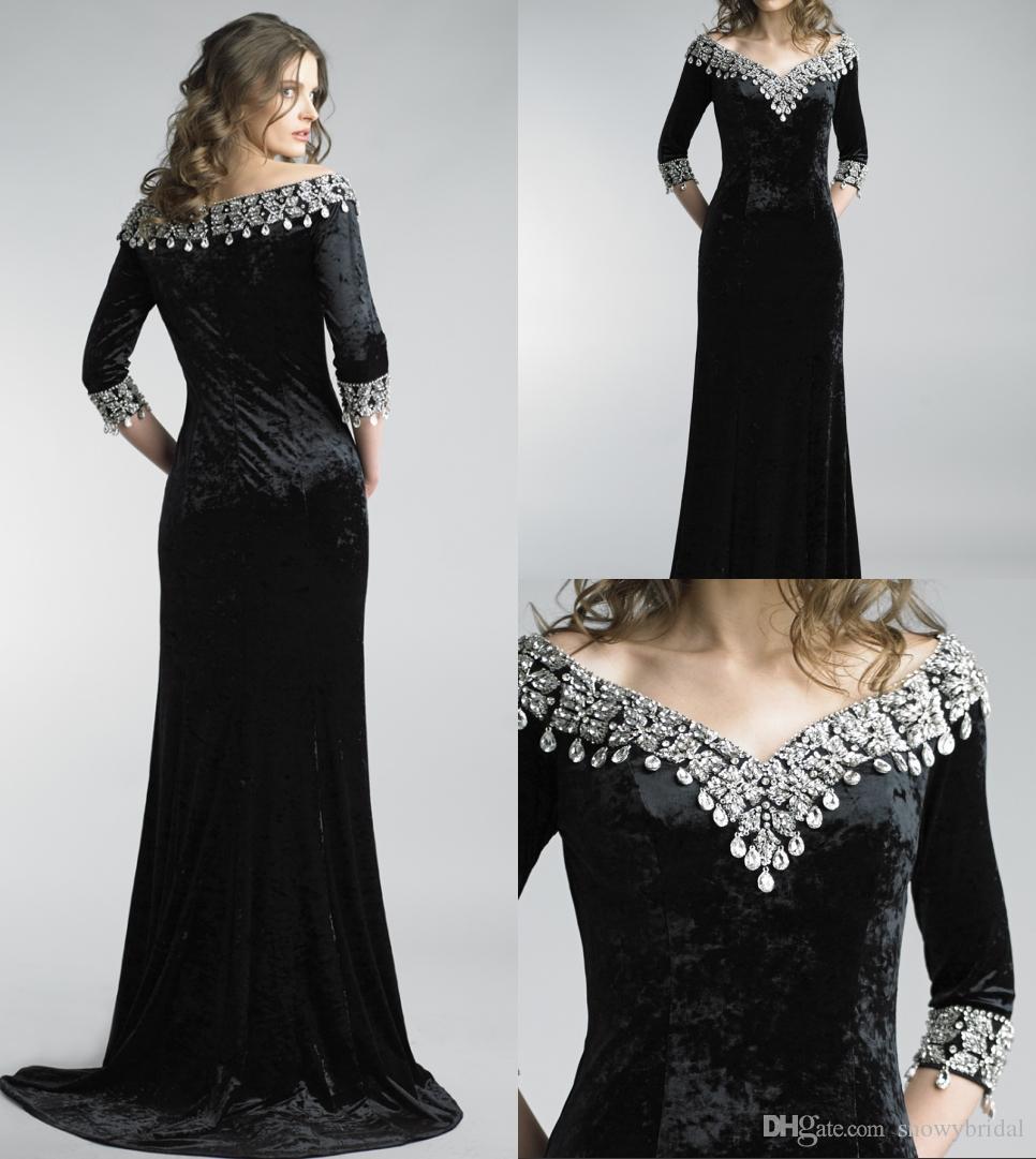 Black Velvet Long Mermaid Evening Dresses 2018 With 3/4 Sleeves Off ...
