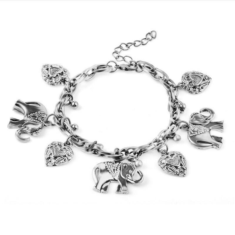 Elephant Heart Charms Bracelets Retro Antique Gold/Silver Color Link Chain Bracelets For Women Animal Statement Jewelry