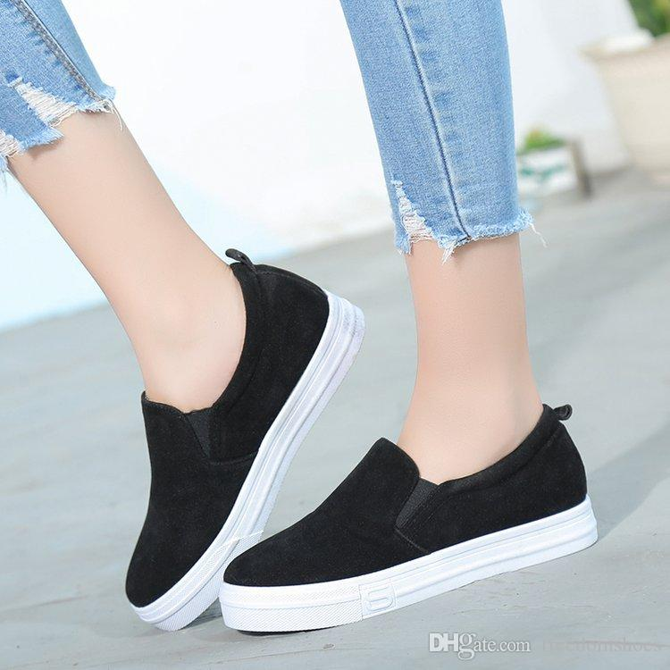 2018 Spring And Fall Women Casual Shoes Brown Slip On ...