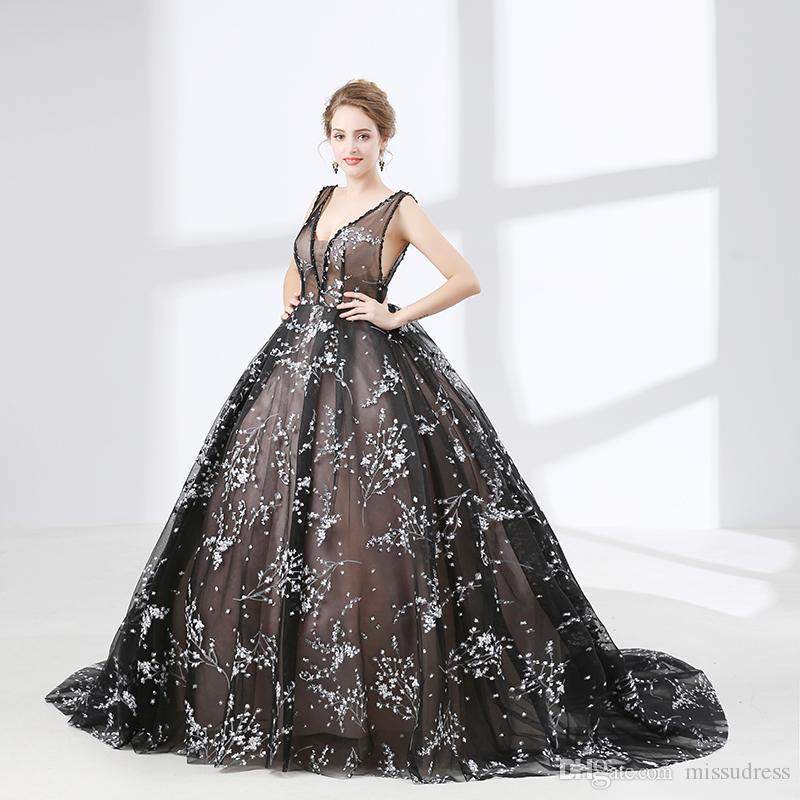 Organza ball gown prom dresses tulle sexy see through v neck 2018 new collection dresses party gown