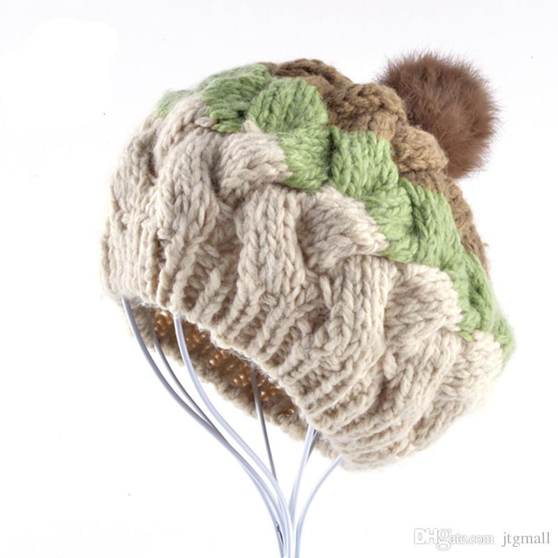 a8dc99b7351 Winter Woman Floppy Hat Female Beret Cap Hand-knitted Rabbit Fur Ball Hats  Boina Feminina Toucas De Inverno Online with  18.58 Piece on Jtgmall s  Store ...