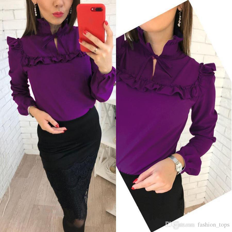 de12705f4 2019 Women Fashion Long Sleeve Ruffles Loose Blouses Tops 2018 New Lady  Summer Casual Party Purple Navy Blue Office Shirt Blouse From Fashion_tops,  ...