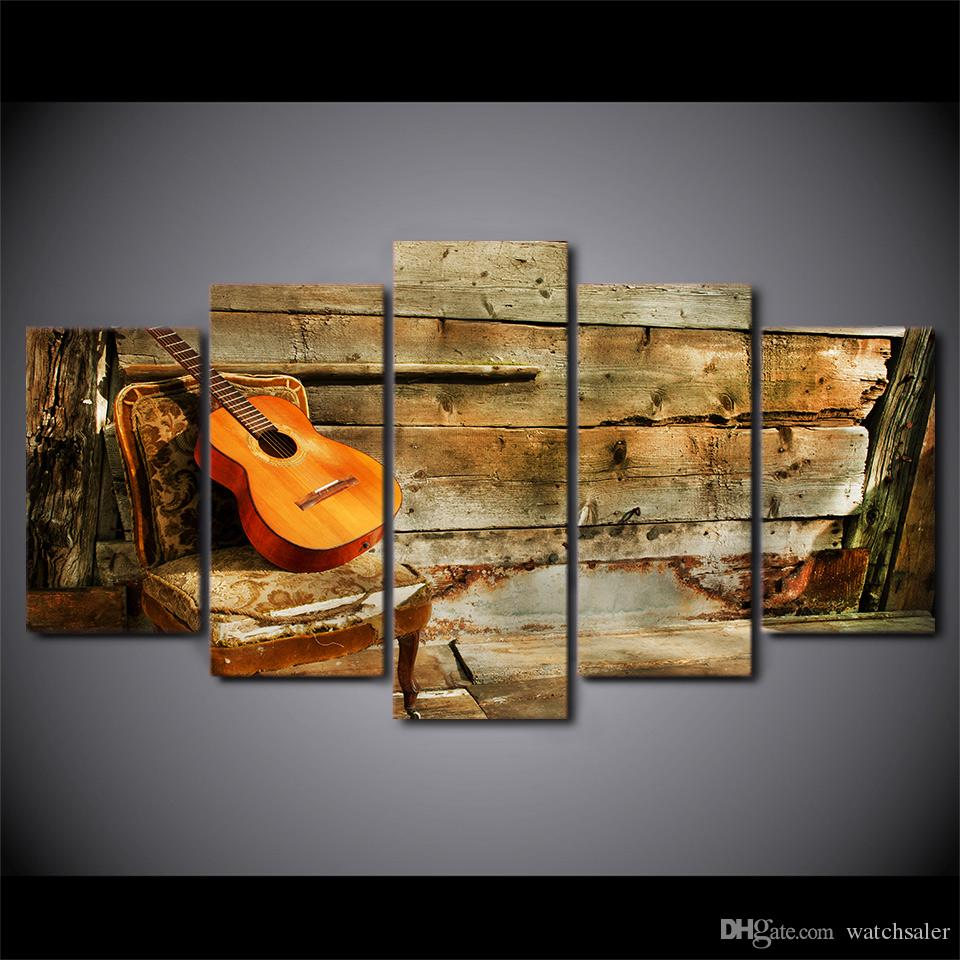 HD Printed Canvas Art Wooden Guitar Painting Vintage Framed Modular Wall Pictures for Living Room CU-2360B