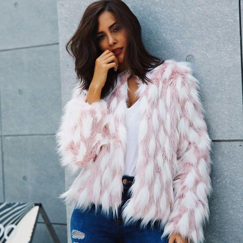 f4913ac127 2019 New Winter Fluffy Faux Fur Coat Women White Pink Fake Fur Jacket Coat  Women Chic Short Outerwear Warm Ladies Overcoat Women Faux Fur Coat Women  Faux ...