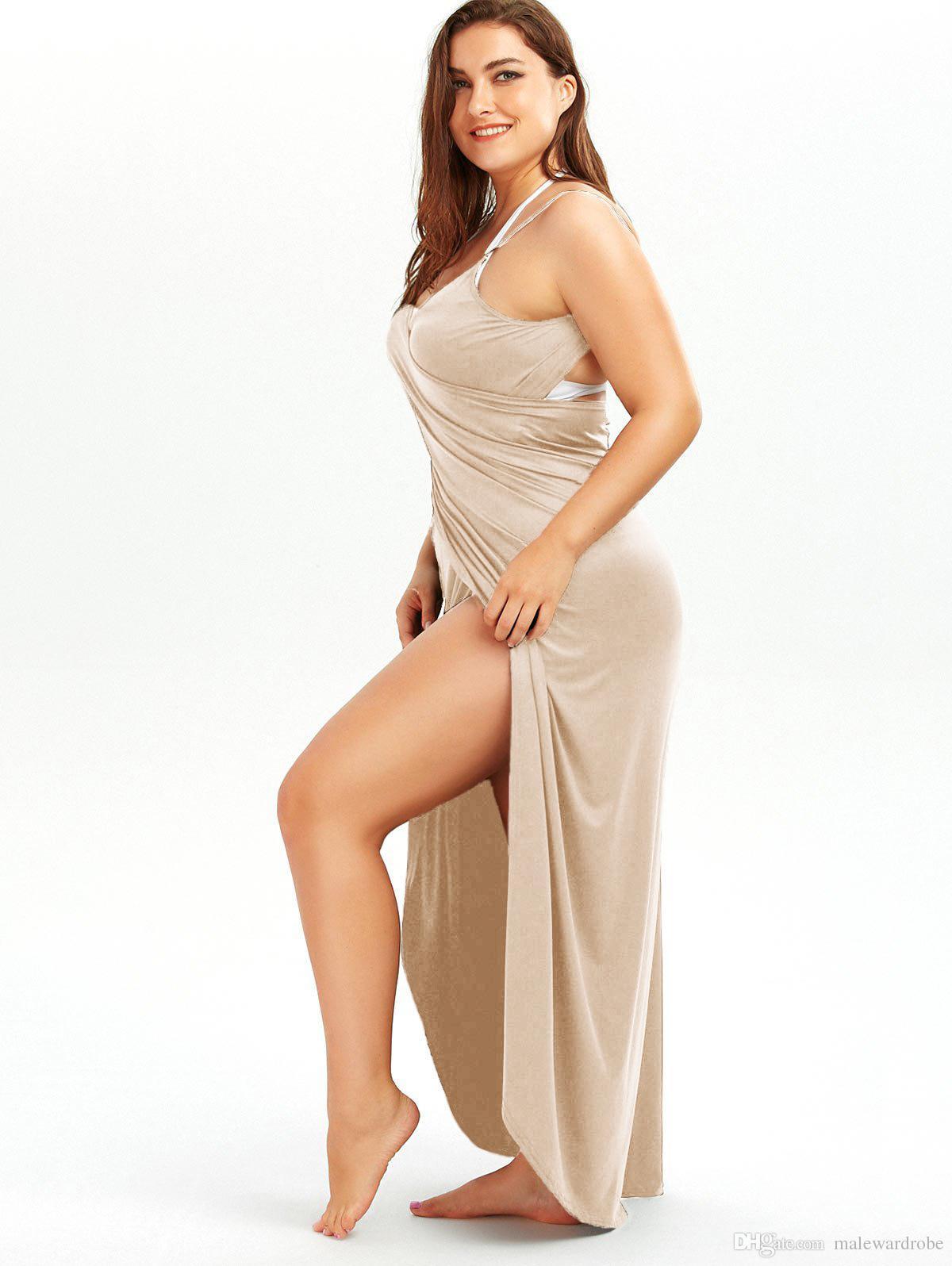 الشاطئ زائد حجم التستر لباس المرأة حمالة الصلبة فساتين طويلة أكمام عارية الذراعين الصيف عطلة أكبر حجم الملابس الملابس الحلوى