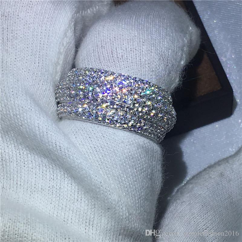 Victoria Wieck Kadınlar Moda 300 adet Diamonique Cz 925 gümüş nişan düğün band yüzük kadınlar için takı Hediye