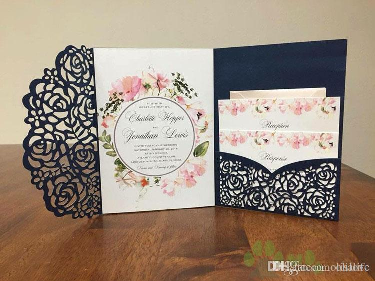 Affordable Wedding Invitations.2018 Affordable Wedding Invites Laser Cut Pocket Wedding Invitation Suites Customizable Invites With Envelope Blank Inner Custom Printed