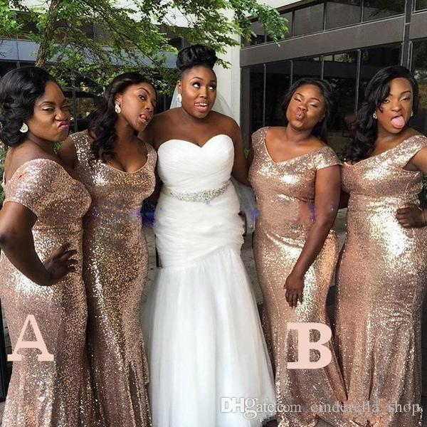 Plus Size Rose Gold Sequined Mermaid African Bridesmaid Dresses 2019 Off Shoulder Floor Length Long Formal Wedding Guest Party Gowns Cheap