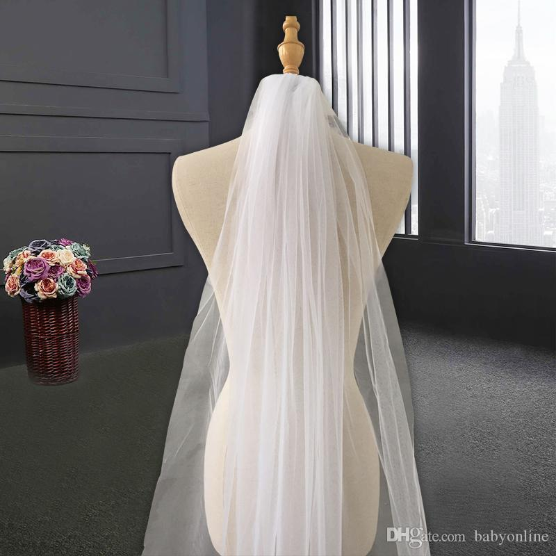 Best Sell Velo da sposa da sposa con applicazioni Edge 2019 Tulle Long Cathedral Velo da sposa Velo da sposa con pettine veu de noiva cpa219