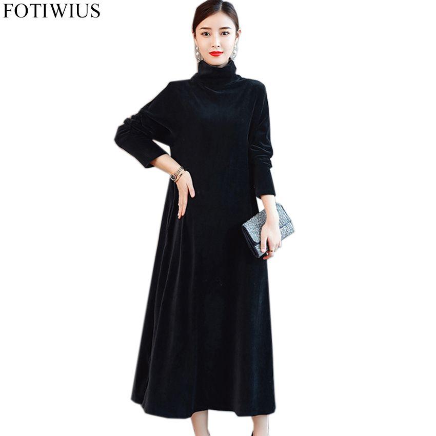Winter Plus Size Dresses Women Turtleneck Dresses long Sleeve Black Velvet  Dress Ladies Casual Midi-Calf Robe Femme Vestidos