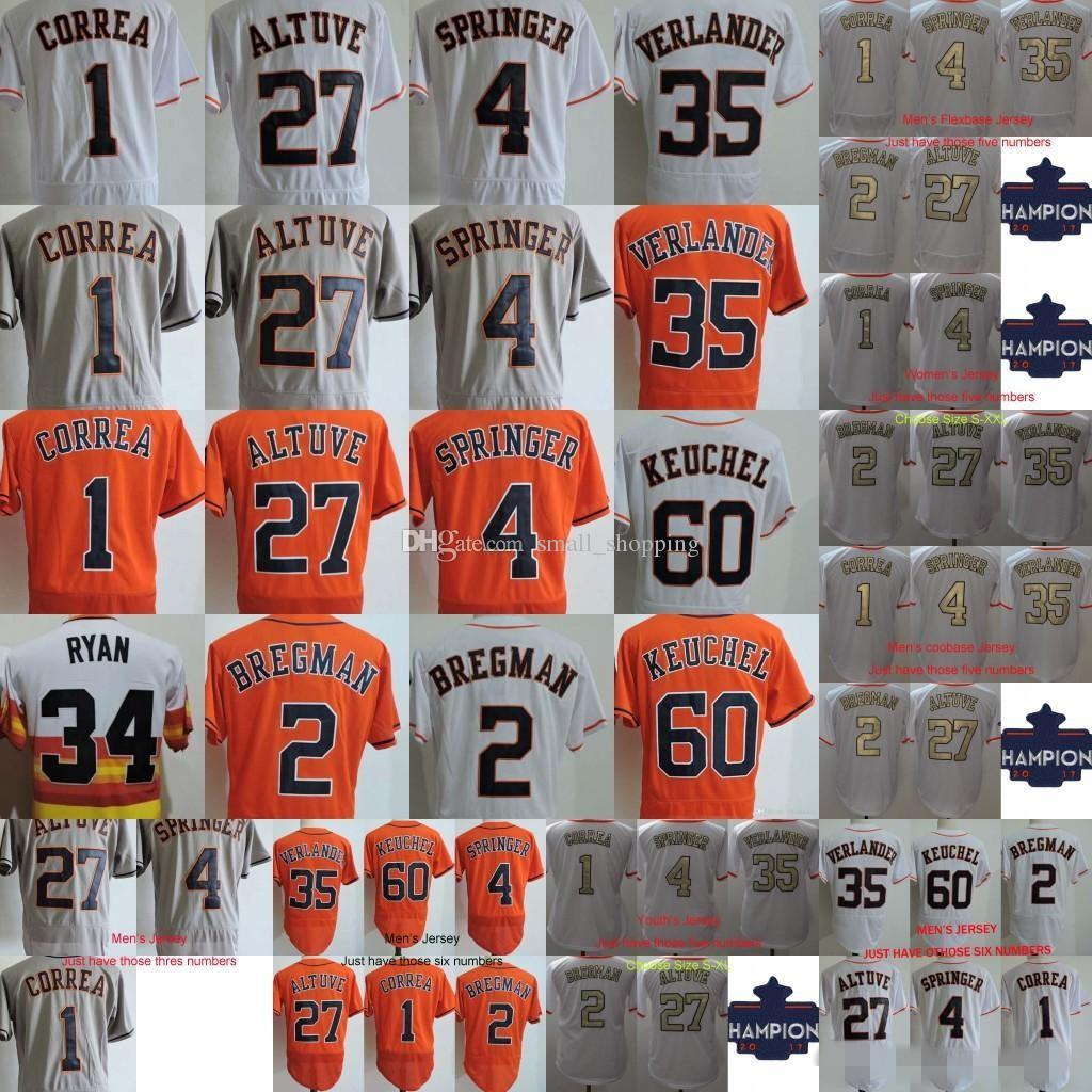 best website ca836 8df16 2018 Gold Program Jersey 27 Jose Altuve 4 George Springer 1 Carlos Correa 5  Jeff Bagwell 34 Nolan Ryan 2 Alex Bregman 2017 Champions Jerseys